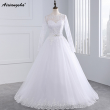 Hot 2017 Long sleeve White Romantic Wedding Dresses with Sash Ball gown Organza with Appliques Vintage Bridal Gown(China)