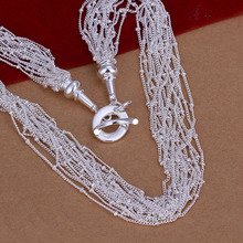 Free shipping N019, wholesale silver plated jewelry, high quality women's fashion 18 Line Necklace(China)