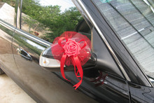 Free shipping 10pcs/lot Wedding car decoration bow marriage room decoration Bowknot drivers spend car rear view mirror flower
