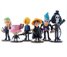 Anime One Piece Figuras Toys Set Luffy Chopper Zoro Action Figures Model Toys Home Car Decor Dolls 8cm 6pcs/lot