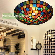 traditional ceiling lights Tiffany Style Stained Glass ceiling lamp in Floral Pattern Flush Mount with3 Lights in Round ceiling