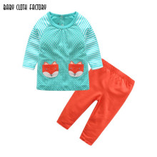 New fashion kids clothes baby girl fox prints long sleeve cotton casual striped pajamas sets baby clothing retail children suits(China)