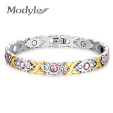 Modyle New Fashion Gold-Color Love Bracelet 316L stainless steel bracelet, magnetic energy with health care stone for men(China)