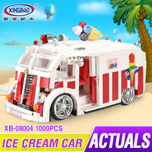 Xingbao 08004 1000Pcs Genuine Technic Series The Ice Cream Car Building Blocks Bricks Set Children Educational Toys Model Gifts(China)