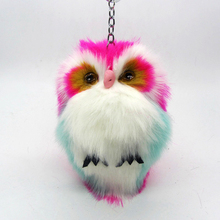 ILOVEDIY 15CM Cute Fluffy Owl Keychain Pendant Women Key Ring Holder Faux Fur Pompoms Key Chains For Handbag Plush Keyring