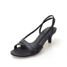Sexy Women Sandals Open Toe Black Cross Strap Shoes Wedding Evening Pumps Woman Summer Med High Heels Sandal CN-B0045(China)
