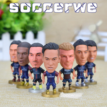 "7PCS + Display Box Soccer PSG Player Star Figurine 2.5"" Action Doll Classic version The fans GIFT(China)"