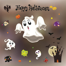 New Arrival DIY Art Free shipping 2017 Happy Halloween Decorations shopping mall Bar KTV static Window Glass paste B035