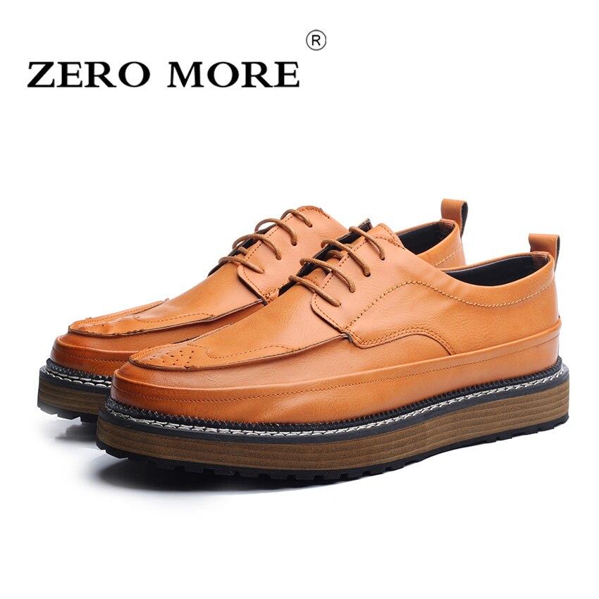 ZERO MORE Summer Men Casual Shoes Fashion Brand Fashion  Lace-Up Oxford Shoes Men Flats Breathable Brogue Platform Shoes for Men<br>