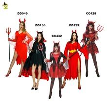 New Adult Devil Costume For Women's  Sexy Red Evil Queen Vampire Costume Halloween Party Cosplay Fancy Dress Outfits