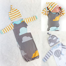New Baby One Piece Newborn Baby Infant Cotton Rompers Playsuit Jumpsuit Swaddle Wrap Blanket Sleeping Bag +Hat  0-12Month