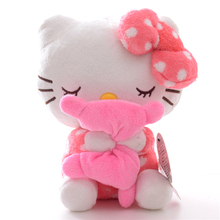 New Arrival Plush Dolls Hello Kitty Plush Pink Hold the Pillow with Sucker Kids for Girls Gifts Doll Toy 7''(China)