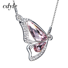 Cdyle Crystals From Swarovski Butterfly Pendants Women Necklaces Valentine's Day Gift Austrian Rhinestone Trendy Jewelry Chic(China)