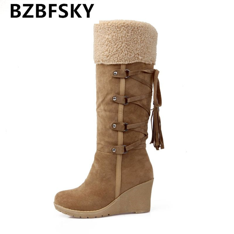 2017 hot sale  botas femininas women winter boots 7cm high heels knee high boots lady shoes black beige yellow snow boots<br>