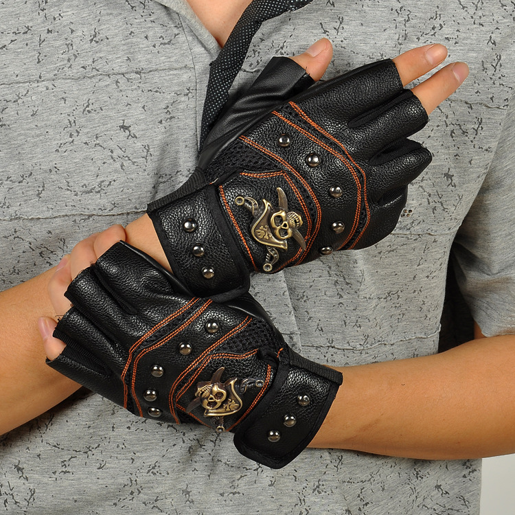 Wholesale leather gloves, PU gloves men half finger movement half slip door outdoor riding mountaineering Charlie<br>
