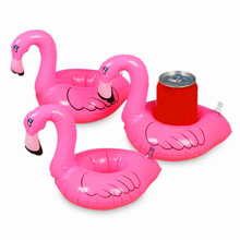 10Pcs hot Mini Cute fanny toys Red Flamingo Floating Inflatable Drink Can Holder Swimming Pool Accessories Beach Kids Bath Toy(China)