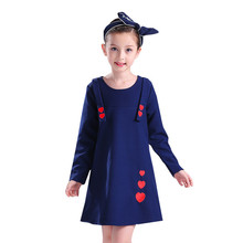 New Long Sleeve Princess Dress Blue Heart Pattern Party Pageant Formal Dress for 12 Years Kids Tulle Dress Birthday Gift(China)