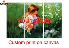 3 pieces/set Your Picture,Family,friends or Baby Photo,Favorite Image Custom Print on Canvas Painting Home Decorate