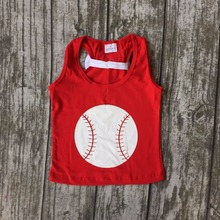 new arrival summer baby girls clothes vest red baseball cotton soft bow icing top shirts raglans boutique slik milk kids wear