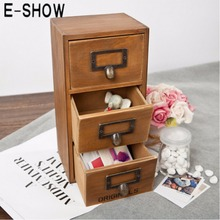 E-SHOW Retro Design Essentials 3-Level Storage Drawer Zakka Wooden Storage Chest Cabinet/Jewelry Household Organizer