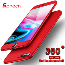 360 Degree Full Cover Red Case For iPhone 8 6 6s 5 5S SE With Tempered Glass Case For iPhone 8 7 7 Plus 6 Phone bag Capa Coque(China)