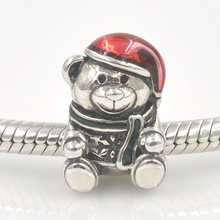 Fits Europe Charms Bracelet Authentic 925 Sterling Silver Original Bead Christmas Teddy Bear Charm Women DIY Jewelry Findings