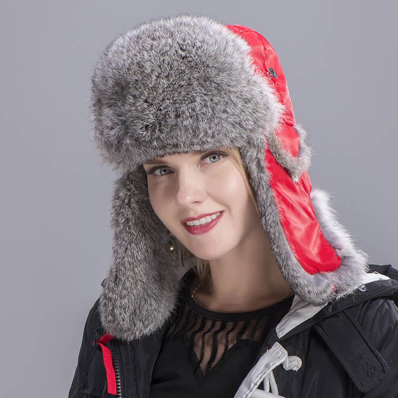 rabbit fur hat women red 6