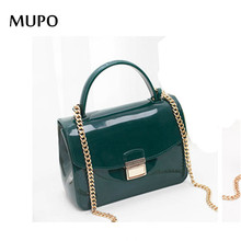 2016 Summer Fashion Furly Candy Mini Chain Bag High Quality PVC Jelly Beach Bags Rivet Valentine Crossbody Bags(China)