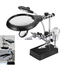 1set Electric Soldering Irons 2.5X 7.5X 10X 3rd Helping Hand Soldering Iron Stand 5 LED Magnifier Glass 3 Lens(China)