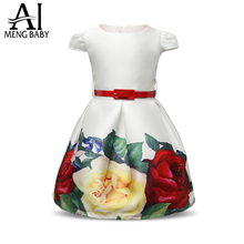2017 Floral Cotton Girl Dress for Child belt Party Princess Dress for Girls Kids Clothes 3 4 5 6 years birthday dress Clothing