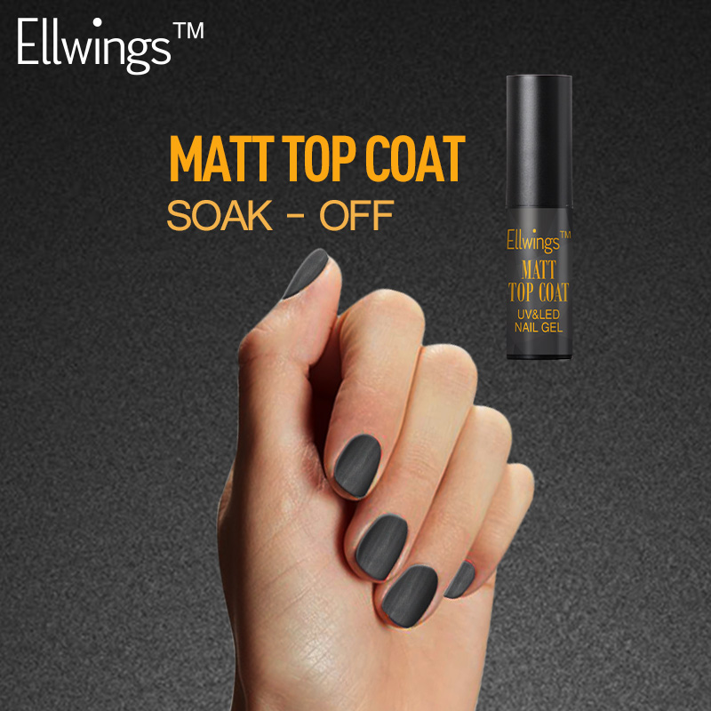 Ellwings 1pcs New Matte Top Coat Nail Gel Polish 6ml Long Last Matte UV Gel Polish Soak Off Nail Varnish(China (Mainland))