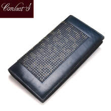 Contact's Handmade Women Clutch Wallet 2018 Genuine Leather Women Wallet High Quality Brand Design Fashion Ladies Business Purse(China)