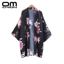 OMCHION Blusas Mujer De Moda 2017 Casual V Neck Long Sleeve Women Blouses Fashion Casual Floral Printed Kimono Jacket QL58(China)