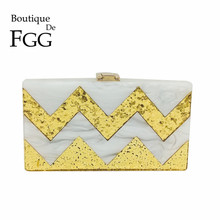 White and Gold Striped Women Evening Bag Box Clutch Purse Hard Case Day Clutches Wedding Bridal Chain Shoulder Crossbody Handbag(China)