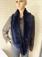 Genuine rex rabbit fur circle scarf wrap cape double color dark blue tips(China)