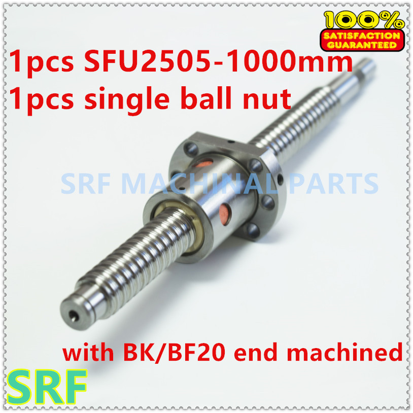 1pcs anti backlash 25mm Lead Ball screw  RM2505 Rolled ballscrew L=1000mm with SFU2505 ball nut  with  BK/BF20 end machined <br>