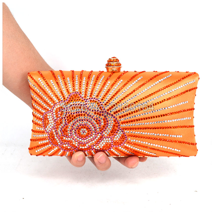 Orange Crystal Evening Clutch Bags with Rhinestone Crystal Diamond for Ladies Wedding Prom Evening Party Crystal Box Clutch T17(China)