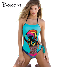 Sexy Print One Piece Swimsuit 2017 Blue Women Halter Swimwear Bathing Suit Women Body suits female Monokini Beachwear Swimsuit(China)