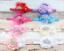 newborn infant fashion flower hairband with crystal crown design headbands baby kids elastic hair band 5pcs hot sale HD1049