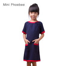 childrens dresses for children 10%wool 60% cotton dresses for children winter children long dress girls new 2017 blue beautiful