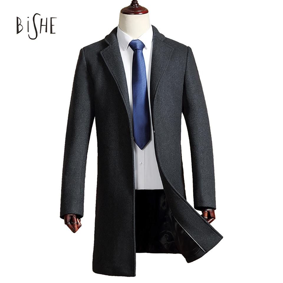 New 2017 Business Casual Slim Wool Coat Male Windbreaker Jacket Formal Cotton Long British Style Men Overcoat Casacos M-3XL