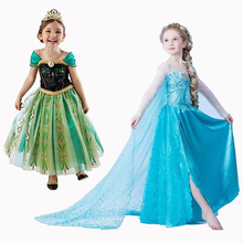New Girls Dresses Cartoon Cosplay Snow Queen Princess Girls Dress Anna Elsa Dresses Costume Children Clothes Baby Kids Clothing