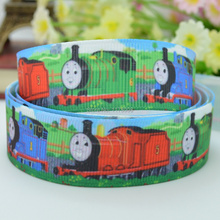 "DUWES 7/8"" 22mm Thomas choochoo cartoon Printed grosgrain ribbon hairbow DIY handmade wholesale OEM 50YD(China)"