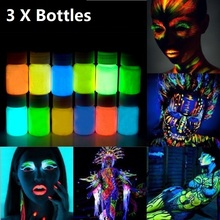 3pcs 25g Glowing Face Body Paint Glow In The Dark 12 Colors lumious UV Acrylic Paints for Party & Halloween Body Makeup(China)