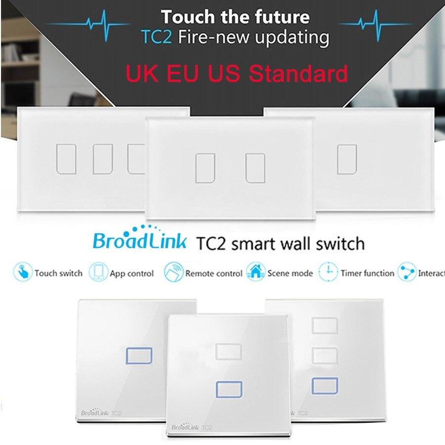 Broadlink TC2 UK EU US Switch 1Gang 2Gang 3Gang Touch Switch Smart Home Automation Wireless Wifi Control Light Wall Switch RF433<br><br>Aliexpress