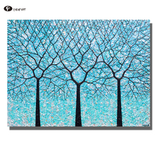 CHENFART Wall Art Canvas Prints Trees of Life Ocean Blues Landscape Wall Picture for Living Room Home Decor no Frame(China)