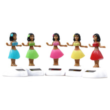 Solar Powered Dancing Hula Girl Swinging Bobble Toy Christmas Gift Novelty Happy Dancing Solar Girls Toys For Children(China)
