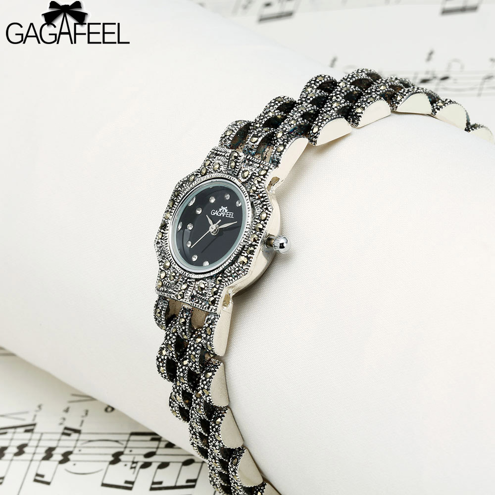 GAGAFEEL 925 Sterling Silver Watches Womens Ladies Quartz Bracelet Watch Fashion Silver Clock Relojes Mujer 2017 Saatler<br>
