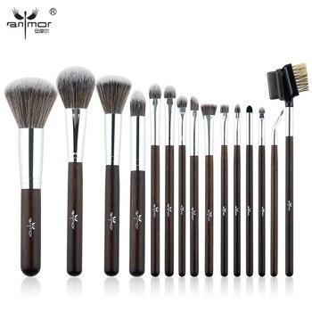 Anmor Brand15 шт Makeup Brush Set Профессиональные Pinceaux Maquillage Красивая Румяна Тени Для Век Макияж Кисти