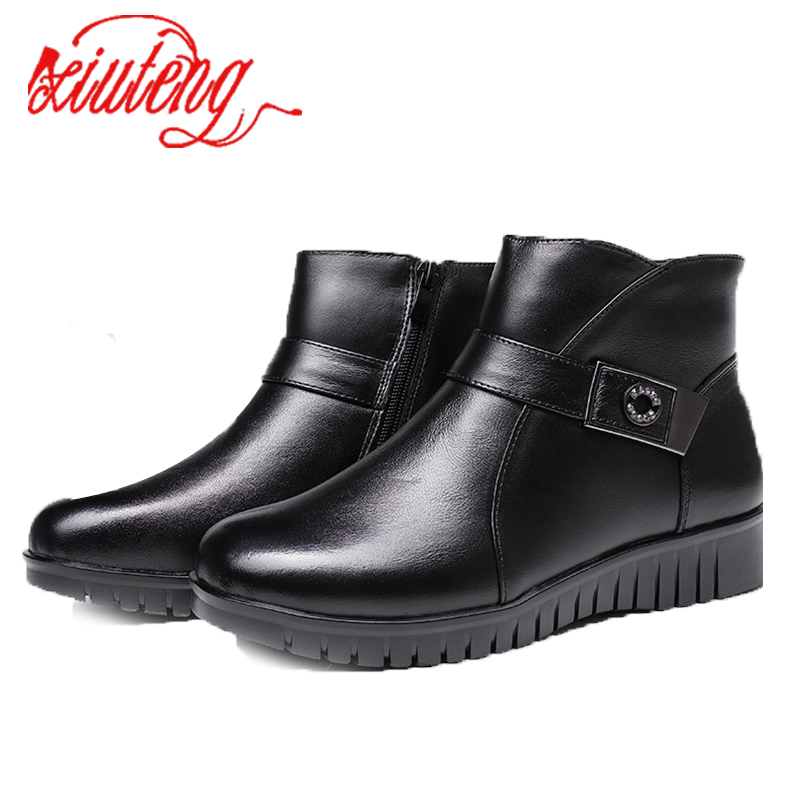 Xiuteng New 2017 women boots women leather winter boots warm plush autumn boots winter Flat with shoes woman ankle boots<br>
